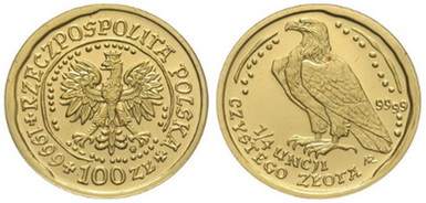 Baza monet EXG - 1/4 oz Orzeł Bielik 100 Zł