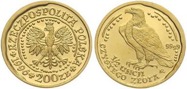 Baza monet EXG - 1/2 oz Orzeł Bielik 200 Zł