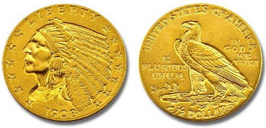 Baza monet EXG - 2.5 USD Eagles Indian Head