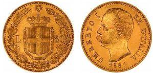 Baza monet EXG - 20 Lirów 1861-1923