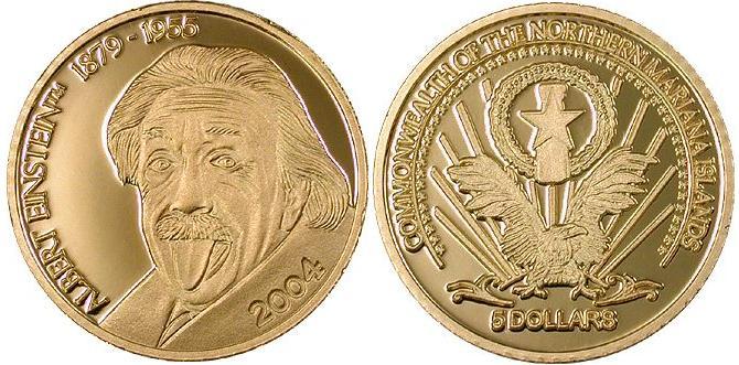 Baza monet EXG - Mariany Północne Albert Einstein 5 Dolarów