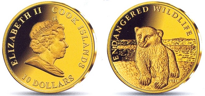 Baza monet EXG - Wyspy Cooka Mały niedźwiedź polarny 10 Dol