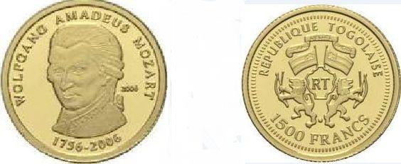 Baza monet EXG - Togo Wolfgang Amadeusz Mozart 1500 Franków